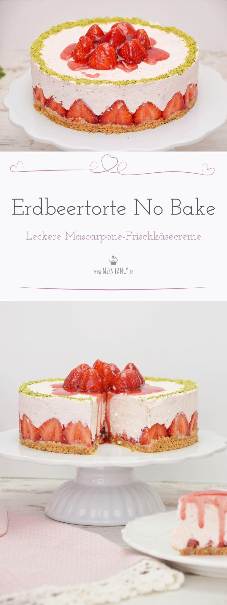 Erdbeertorte mit Mascarpone-Frischkäse – No Bake
