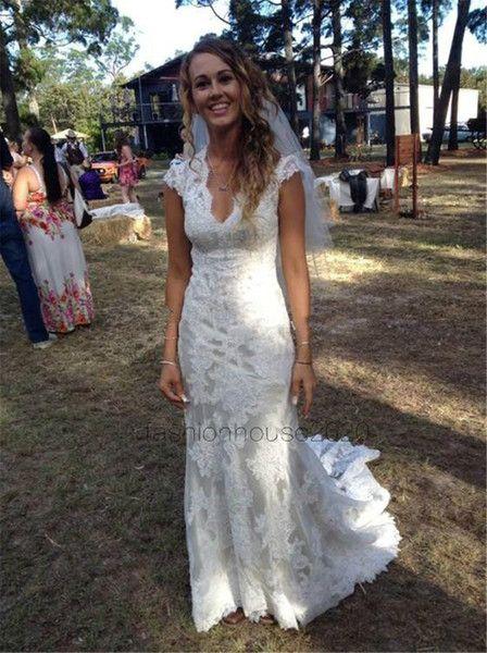 Ivory Lace Country Wedding Dresses Mermaid Cap Sleeves Appliques Modest Beach Wedding Dress Plus Size Bridal Gowns Mermaid Dresses Cheap Mermaid Wedding Dress With Sleeves From Fashionhouse2020, $143.72| DHgate.Com
