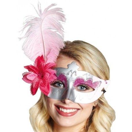 Masque loup Venitien argent pink Domino avec plume rose