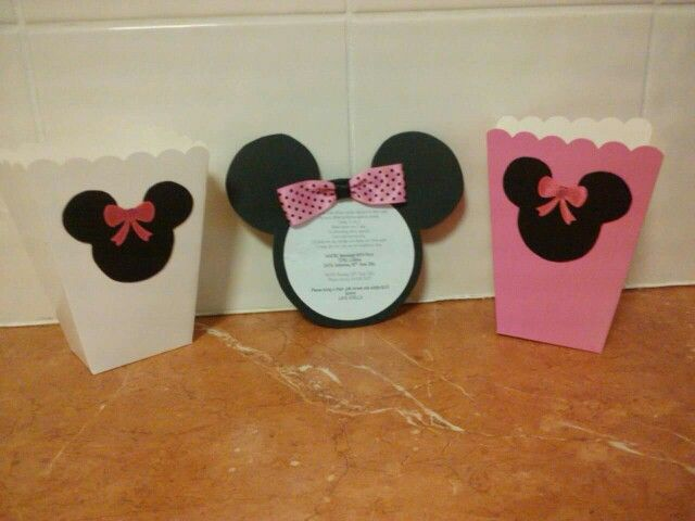 Minnie Birthday invitations and lolly bags - made by me