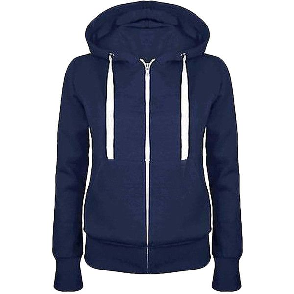 Womens Simple Slim Plain Long Sleeve Zipper Hoodie Navy Blue (€13) ❤ liked on Polyvore featuring tops, hoodies, navy hoodie, blue zip hoodie, hooded zipper sweatshirts, blue hoodie and zipper hoodies
