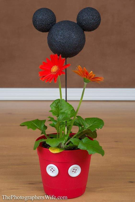 Mickey Flower Pot DIY Craft Disney -- too cute!  You could add photos instead of plants.