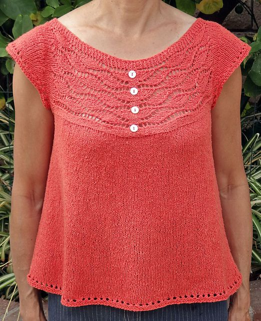 Ravelry user SMotoExpress modified the Low Tide Cardigan by Tin Can Knits into a pull-over, but kept the cute button accent. This is a great knit for summer.
