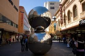 """rundle mall -The Mall's Balls"""" is a sculpture consisting of two stainless steel balls by Bert Flugelman"""