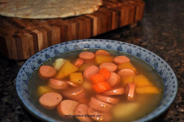 Hot dog soup, Finnish comfort food, Makkarakeitto/Korvsoppa