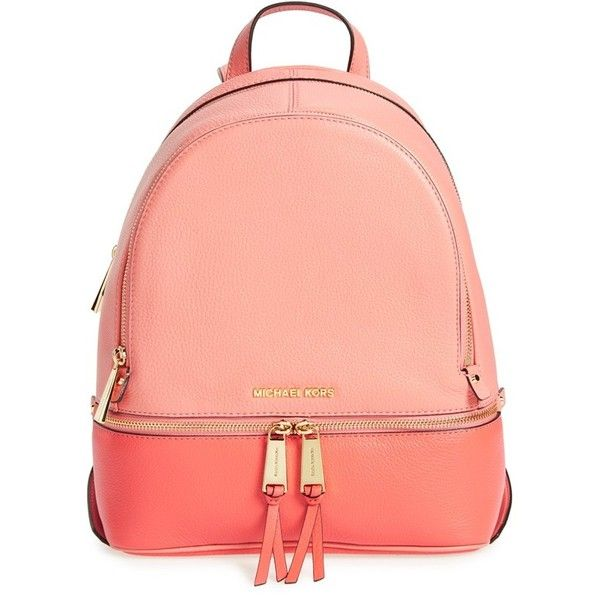 MICHAEL Michael Kors 'Small Rhea' Colorblock Leather Backpack ($298) ❤ liked on Polyvore featuring bags, backpacks, strap backpack, leather daypack, red backpack, leather backpack bag and real leather backpack