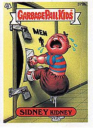 Garbage Pail Kids 10th Series 379B Sidney Kidney Blue | eBay - Yes, there are 2 versions, one blue and one red.  I need both.