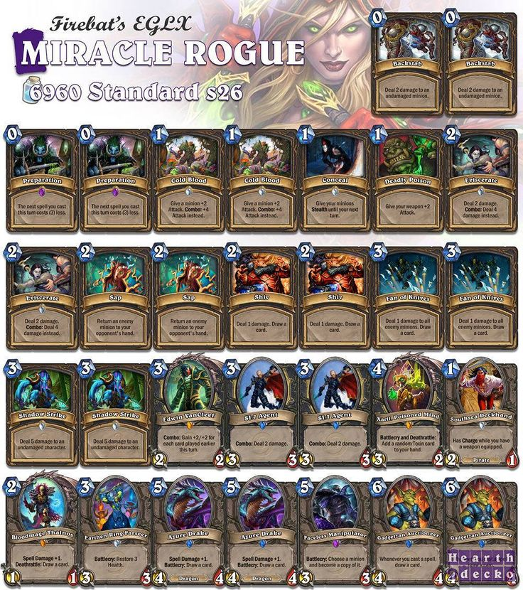 This is the Miracle Rogue list Firebat sported on the EGLX tournament! Very efficient if you can pilot it. #Hearthstone