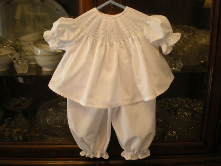 Ready to smock diaper shirt and long pants. Made of soft  Imperial batiste.  Snaps in back, soft elastic around sleeves and pants.