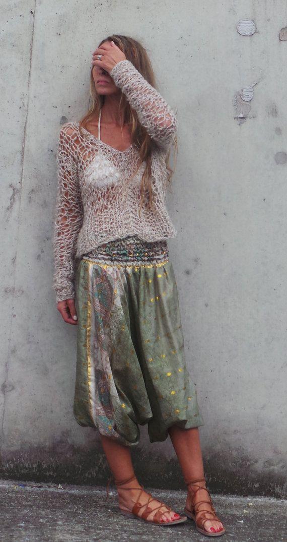 suéter beige boho de las mujeres boho v.neck superior por ileaiye