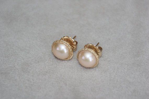 10mm d'eau douce lumière rose perle boucles d'oreilles, boucles d'oreilles fabriqués à la main, boucles d'oreilles perles, boucles d'oreilles or 14K rempli, demoiselle d'honneur, les mariages.
