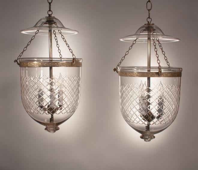 Antique English Bell Jar Lanterns