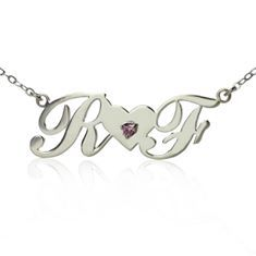 Sterling Silver Two Capital Letters with Heart and Birthstone