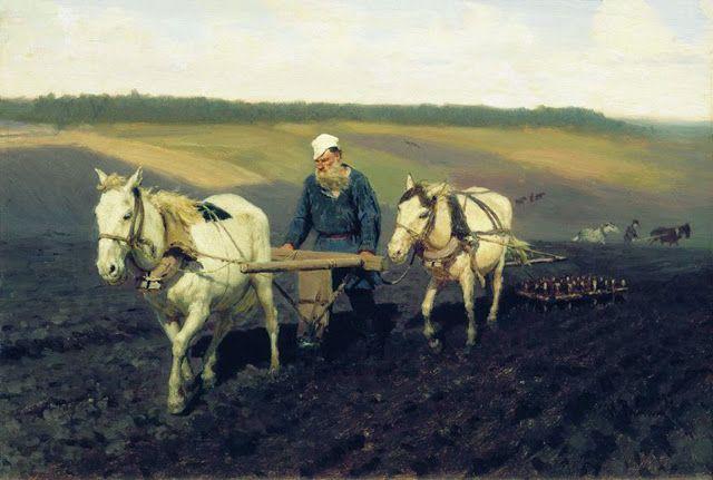 Ο Λέων Τολστόι στο χωράφι.(1887)