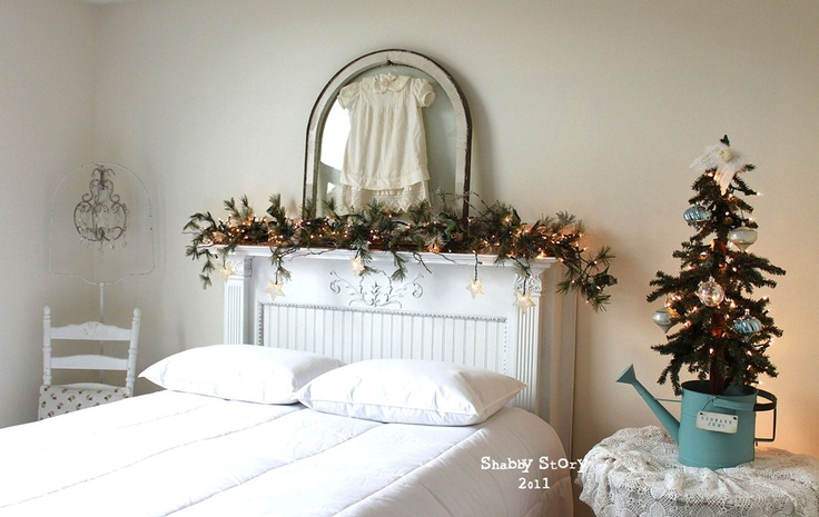 A Shabby Story Blog: Xmas Trees, Fireplaces Headboards, Mantles Headboards, Christmas Bedrooms, Sweet Trees, White Christmas, Shabby Stories, Old Window, Bedrooms Ideas