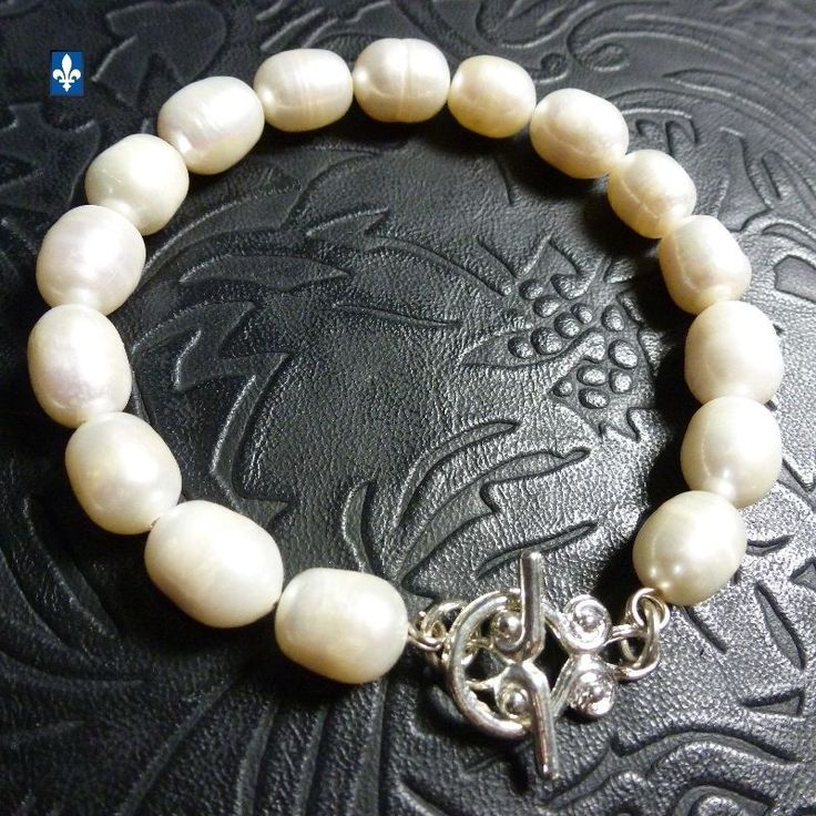 ♥ EASY SHIP TO USA Genuine Natural Baroque Ivory Pearls Plated Silver Bracelet
