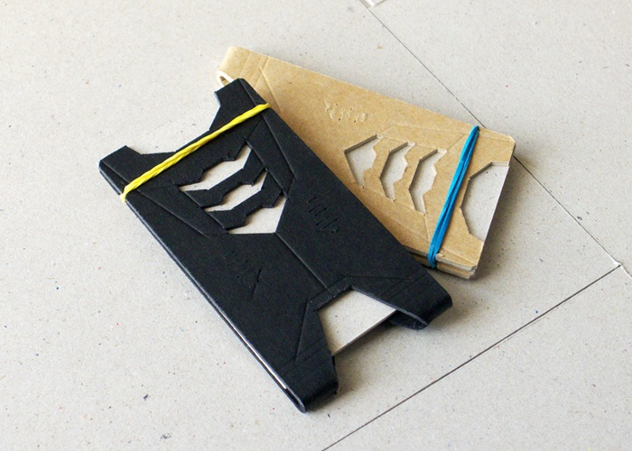 Lambo-01.  Cardboard Cardholder / Cardboard Card wallet. Cardboard + Rubber band. Exploration into low cost materials and high design. By @creativeBhav
