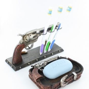 Toothbrush Holder and Soap Dish Western Pistol Gun Decor