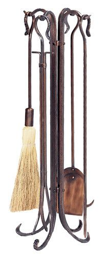 Uniflame® Antiqued Copper Hammered Wrought Iron 5-Piece Fireplace Tools Set with Crook Handles
