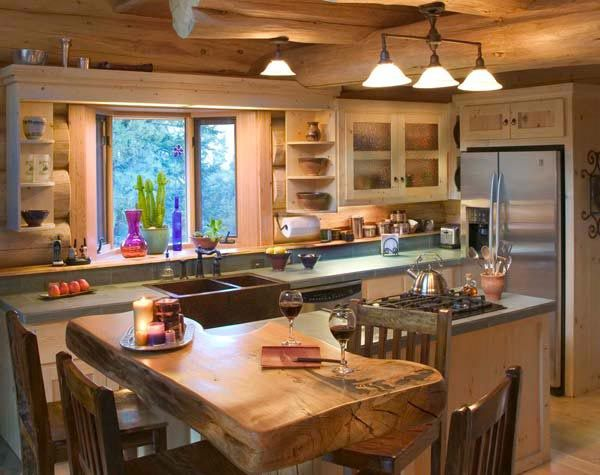 Cabin mountain theme room inspirations fancy house road for Kitchen ideas for log homes