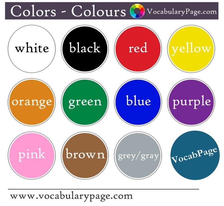Resultado de imagem para Colors in english ESL ADULTS