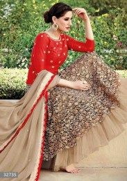 Nargis Fakhri In Sizzling Red Color Designer Anarkali Suit With Heavy Embroidery Work