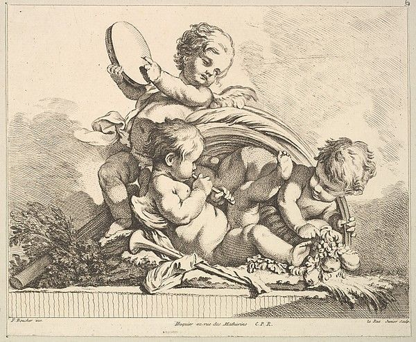 Three Cupids, Two Playing Music, One Holding Palm Leaves