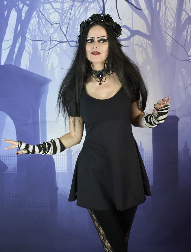 Nevermore Mini Dress - cotton lycra puffed sleeve goth minidress by  Moonmaiden Gothic Clothing UK