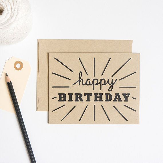 This modern Happy Birthday card features my original cursive lettering paired with block letters and a fun pattern.   FEATURES //  Size: 5.5 x
