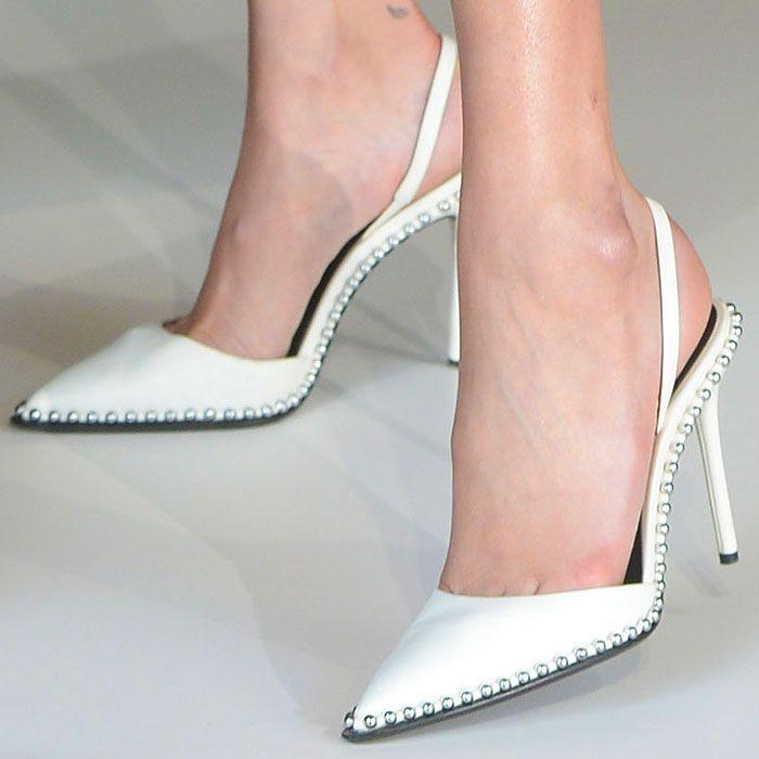 142eb71376e0 Bella Hadid s feet in white Alexander Wang  Rina  slingback pumps ...