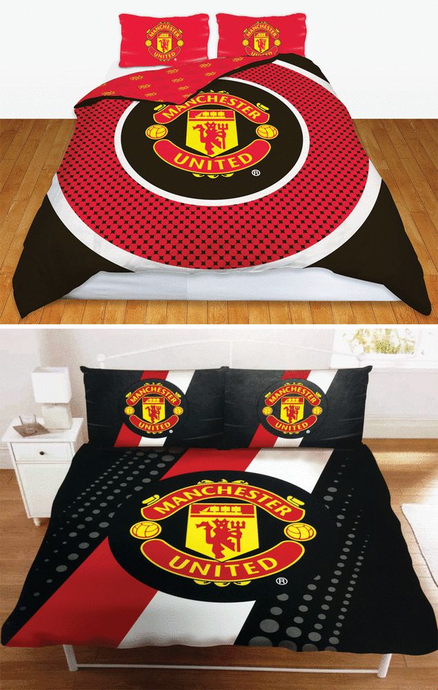 MAN UTD FC MANCHESTER UNITED FOOTBALL CLUB DOUBLE DUVET QUILT COVER BEDDING SETS #ManUtd #Football