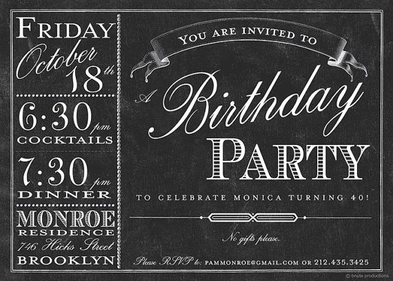 Chalkboard Bistro Menu Invitation - Birthday, Bridal or Wedding Shower, Baby Shower, Any Occasion