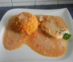 Rezept Gelbreis mit Gemüsesoße und Hähnchen-Minutenschnitzel von babyfroschl - Rezept der Kategorie Hauptgerichte mit Fleisch