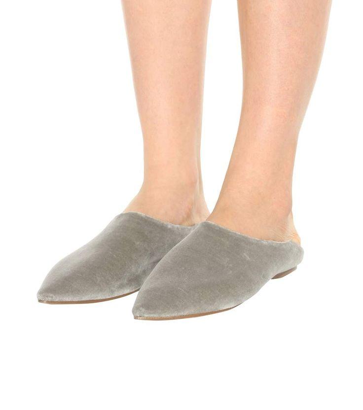 Amina grey velvet babouche slippers   acne studios