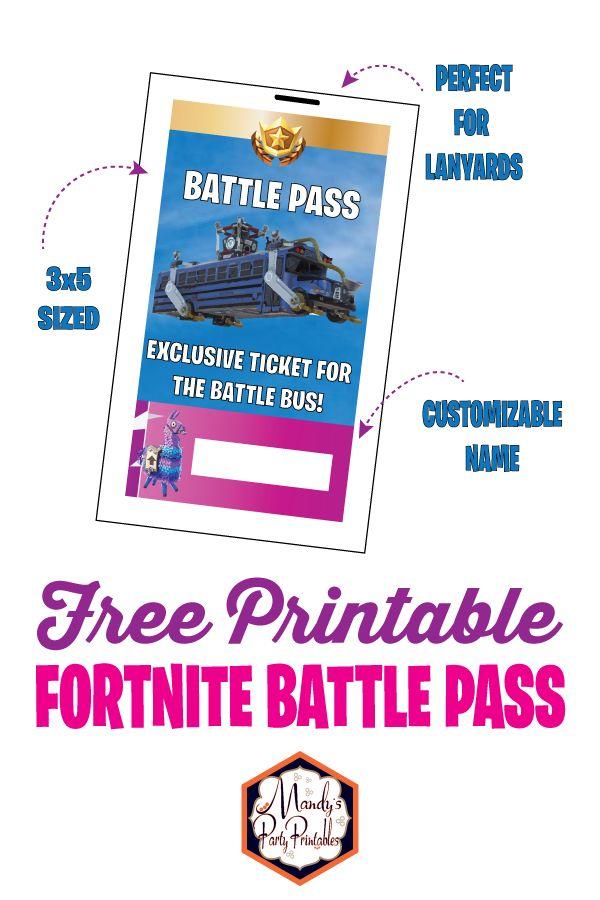 Free Printable Fortnite Battle Pass Lanyard   in 2020 ...