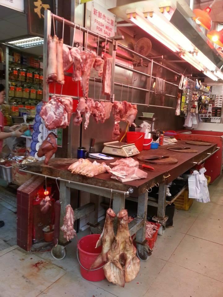 Hong Kong market at the butchers
