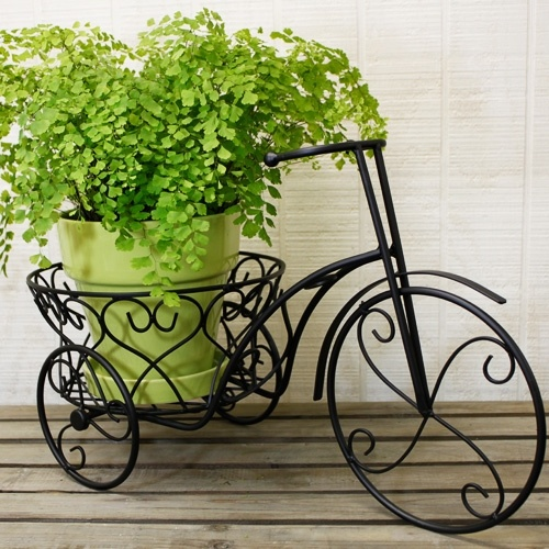 Iron Bicycle Plant Holder-Black