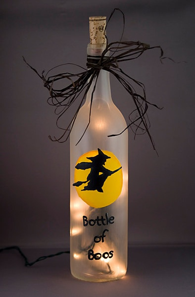 Halloween Wine Bottle LIght Hand Painted Bottle of Boos Witch Flying Broomstick Frosted Glass Yellow Full Moon Organza Gift Bag. $25.00, via Etsy.