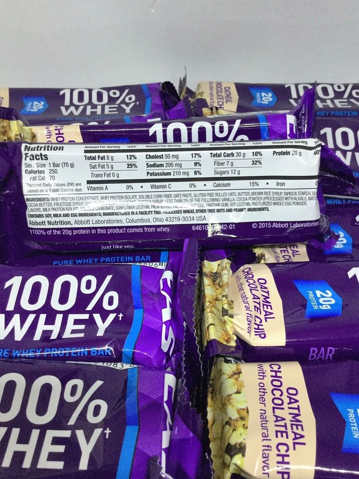85 EAS 100% Pure Whey Protein Bars Oatmeal Chocolate Chip 2.47 oz each