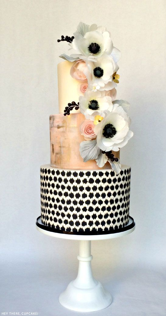 amazing black, white & blush   Wafer Paper Anemone Cake   by Hey There…