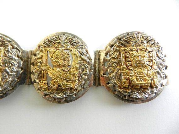 Peruvian Medallion Link Bracelet  5  links by RAKcreations on Etsy