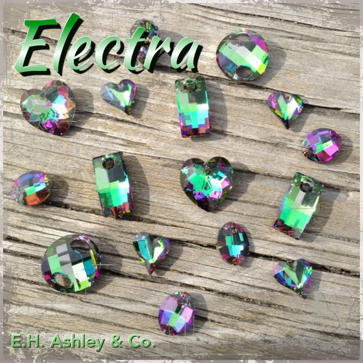 "E.H. Ashley's Custom Coating ""Electra"" can be applied to Crystal or Color SWAROVSKI ELEMENTS! www.ehashley.com #customcoating #electra"