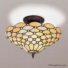 $188 Interiors 1900 Pearl Semi Flush Tiffany Ceiling Light