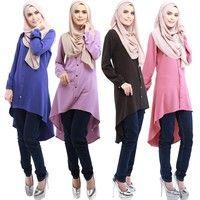 Wish   Muslim Women Top Shirt Dresses O-Neck Long Sleeve Islamic Clothing Middle East Abaya Chiffon Kaftan Djellaba Muslim Shirts