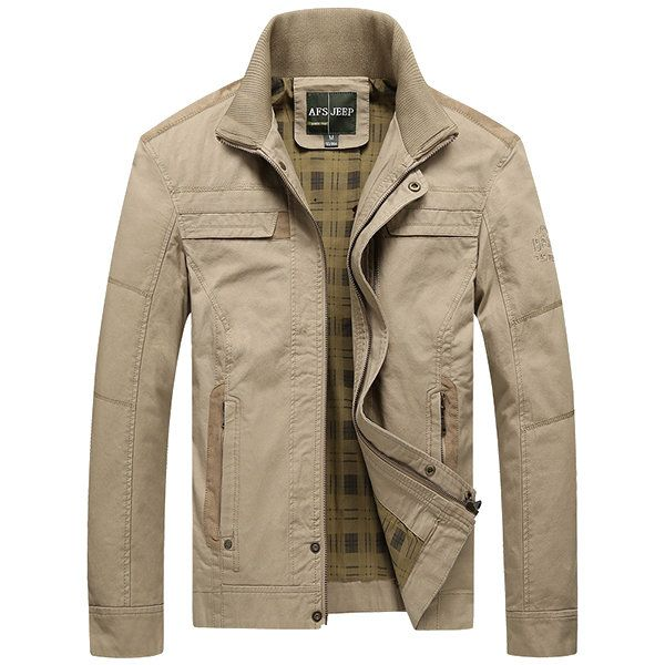 Men's Jacket khaki and army green colors Male Overcoat Casual Solid Jacket  AFS JEEP Men's Jacket Cotton Plus Size Men's Coat