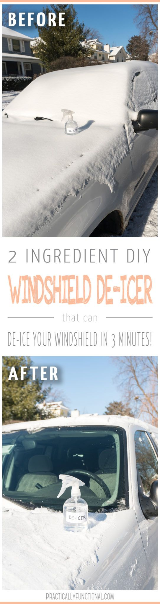 This 2 ingredient homemade windshield de-icer spray will de-ice your window in under 3 minutes, no scraping required! Spray it on, get in the car, and 3 minutes later you're ready to go! #deicer #carcare #CarCareTips