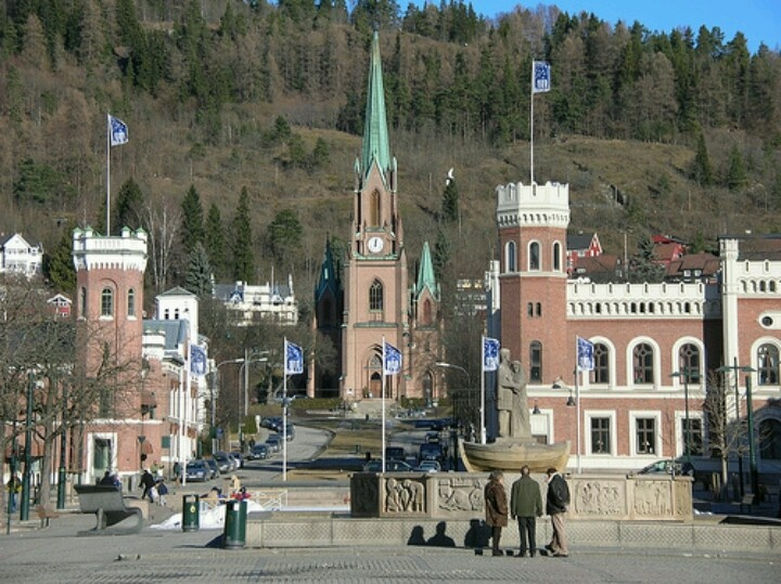 Drammen, Norway. Did a concert in the church seen in the distance