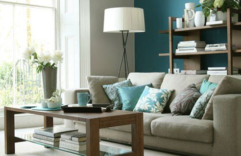 teal room accent wall. Love this since I don't want the room to be too dark. #livingroom
