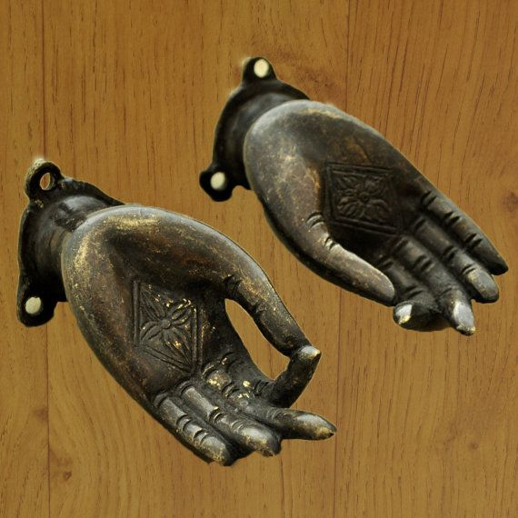 Nepalese Antique Finish Brass Hands Buddhist Hindu Wall or Altar Decor Jewelry Hangers on Etsy, $99.95