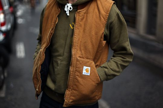 carhartt vest. i have had one for years, and people called me crazy. carhartt is making a comeback in a big way.